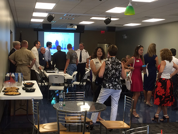 Group mingling at first strategy session in Jacksonville, North Carolina