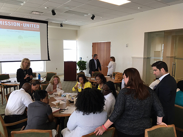 Kelly and Dan from UniteUs along with NCServes Coordination Center -USO NC's Kelli Davis mentoring service providers from the Hampton Roads-South community at a United Way/Mission United training event